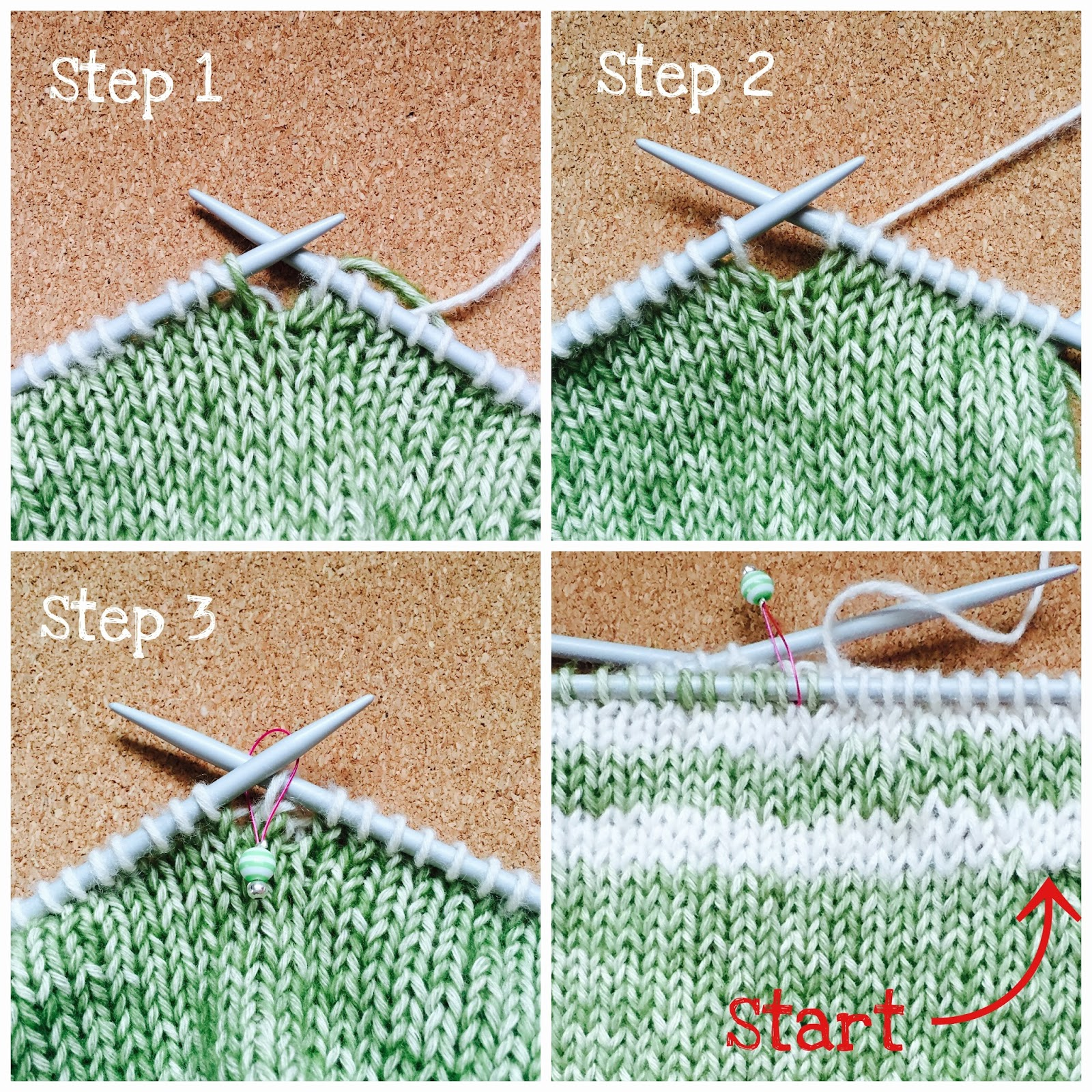 Knitting Vertical Stripes In The Round : Tutorial how to knit jogless stripes in the round