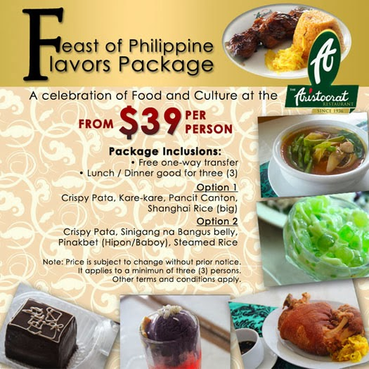 Mango Tours The Aristocrat Restaurant Feast of the Philippine Flavors Package