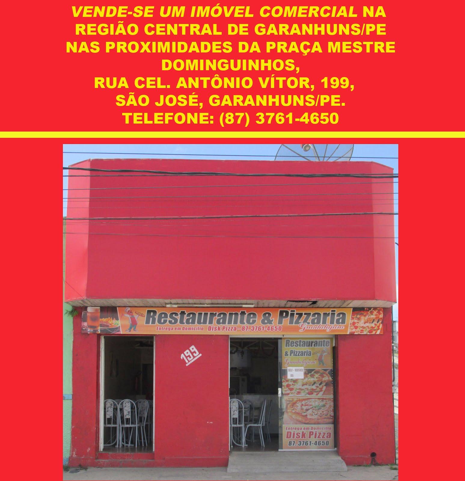 VENDE-SE UM IMÓVEL COMERCIAL NA REGIÃO CENTRAL DE GARANHUNS/PE