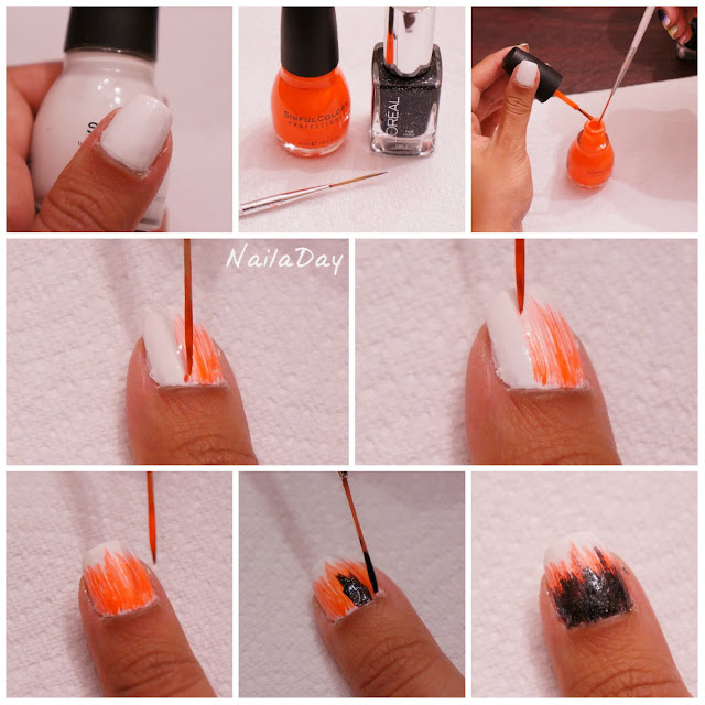 NailaDay: Raggedy Brushstroke design tutorial
