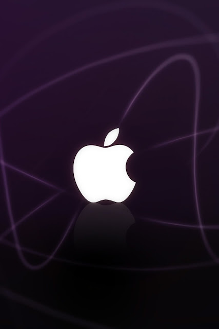 Apple Logo Purple Waves iPhone Wallpaper By TipTechNews.com