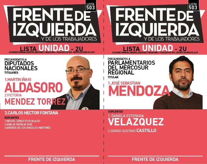 LISTA UNIDAD DEL FRENTE DE IZQUIERDA EN JUJUY