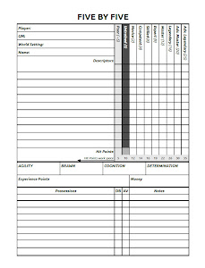 Five By Five 2.5 Character Sheet