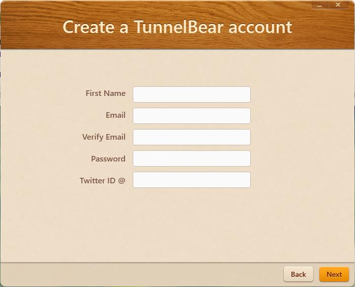Buat dulu akun TunnelBear