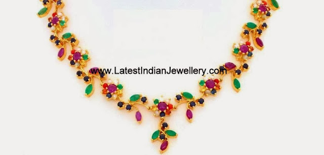 Light Weight Navaratna Necklace