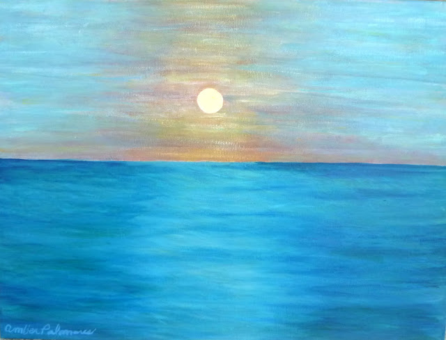 Painting of a sunset over the ocean