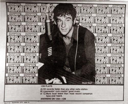 1ZM ad, dj bryan staff, Rip It Up mag sept 1978