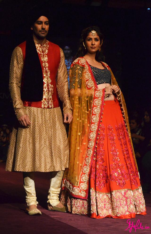 lakme fashion week shyamal bhumika anarkali lehenga sherwani turban