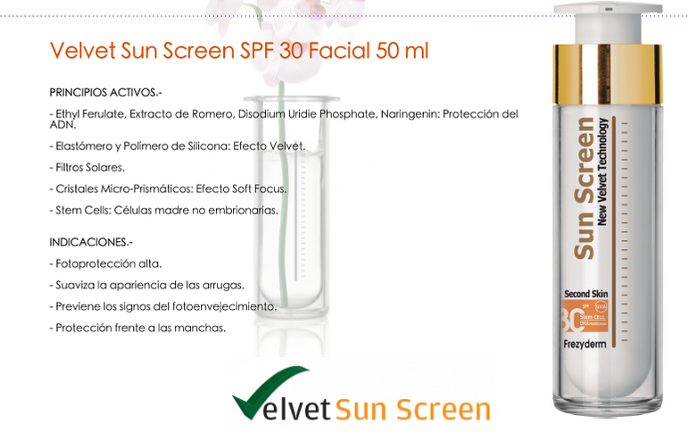 Velvet Sun Screen 30+ de Frezyderm