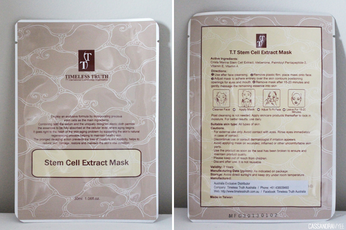 VIOLET BOX // May '14 Unboxing + Initial Thoughts - Timeless Truth Stem Cell Extract Mask - cassandramyee