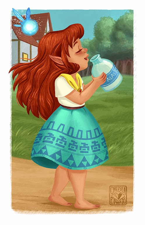 The child of  Malon and Link drinking some Lon Lon Ranch milk and walking with Navi - made by Chelsea Loren Edwards (Chelsea Edwards, emptyenvelopes)