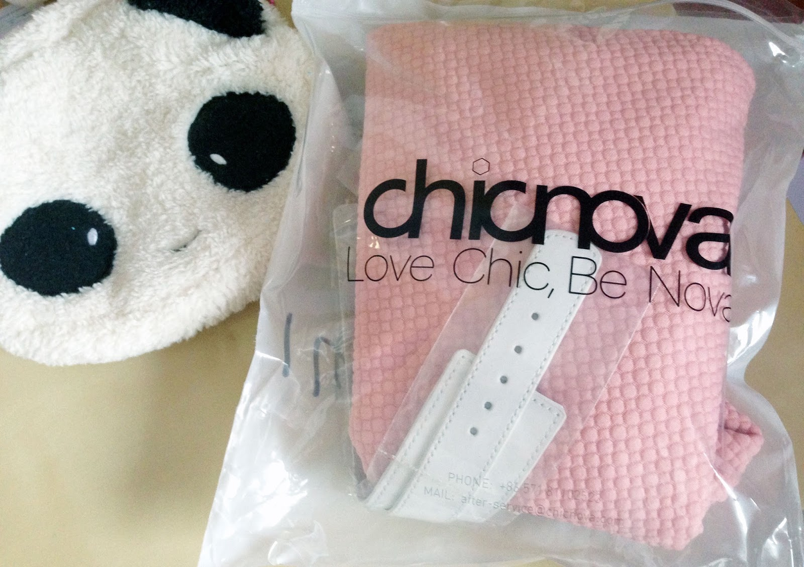 Chicnova packaging - the pink skirt, patterned tights, and leather bracelet were all folded neatly into the Chicnova bag