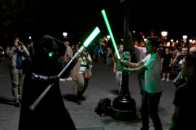 Biggest Lightsaber Fight in the New York Park