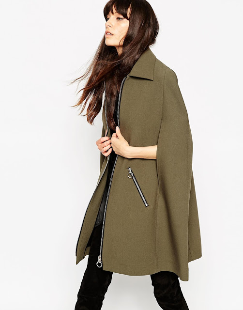 tailored cape, cape coat khaki, retro cape coat,