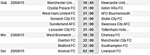 Jadwal Bola Premier League Liga Inggris Musim 2015/2016 Bulan Agustus