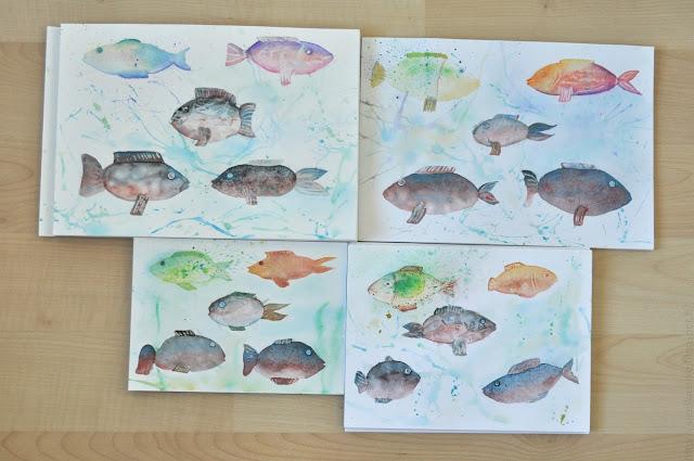 рисунки рыб акварелью