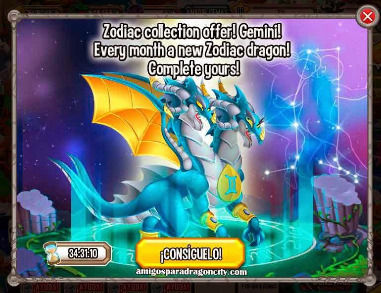 imagen de la oferta especial del dragon zodiaco geminis de dragon city