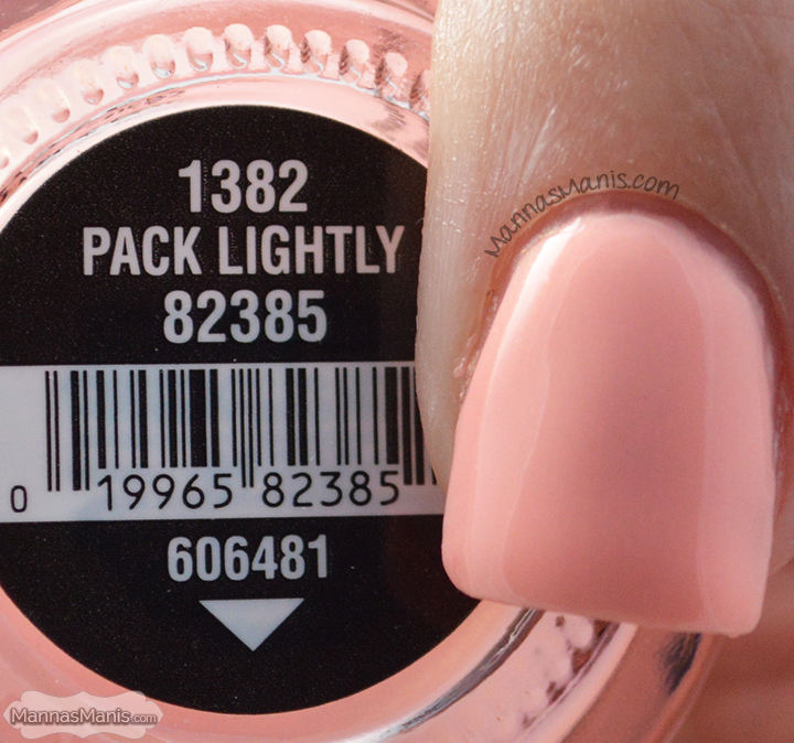 China Glaze Road Trip Pack Lightly, a shimmery peach nail polish