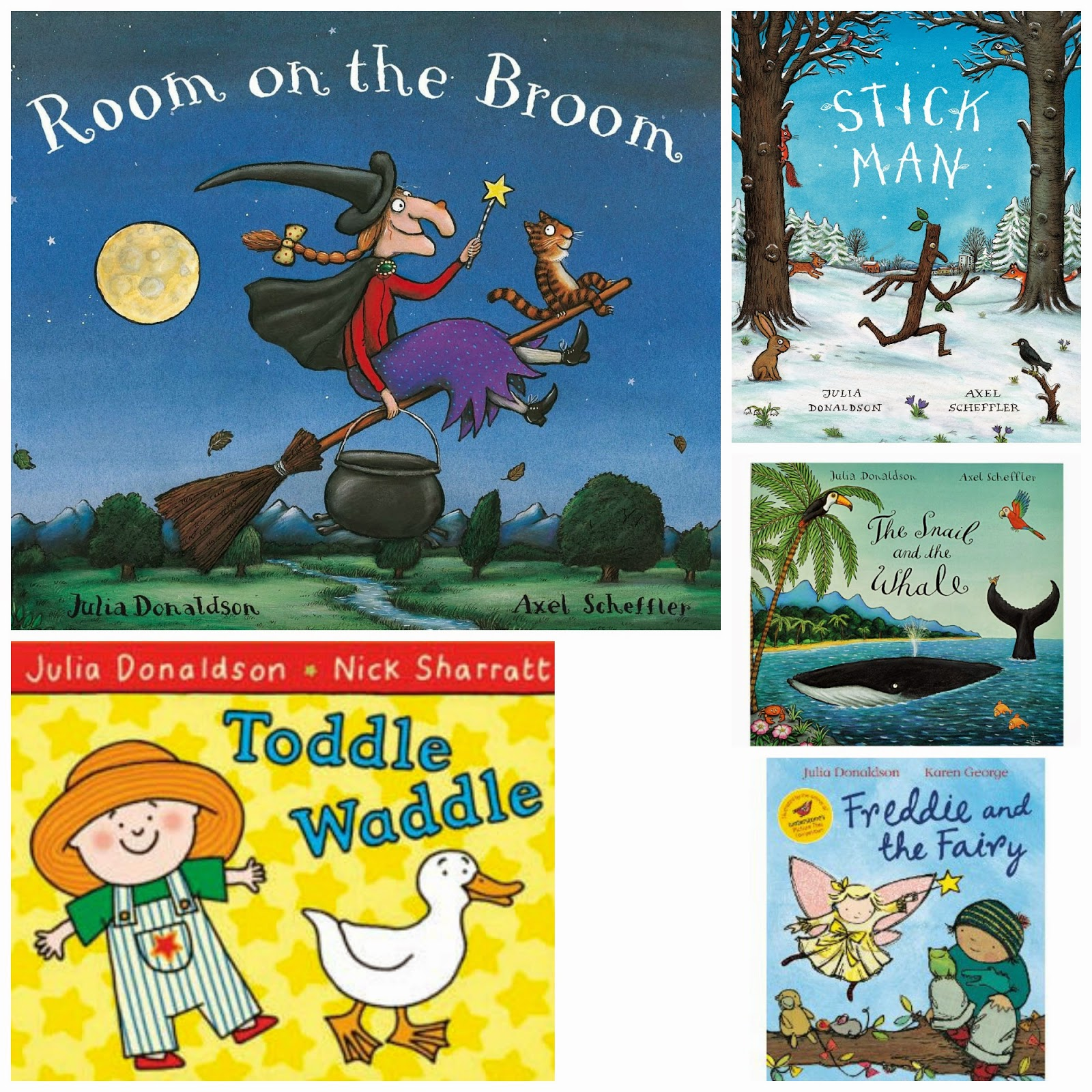 Our 10 favourite Julia Donaldson books for toddlers | Room on the broom | Tabby Mctat | axel Scheffler | children author | children books | what the ladybird heard | stick man | toddle waddle | books for toddlers | fave bedtime stories | fave bedtime books | best kids books | julia donaldon | nigth monkey | day monkey | monkey puzzle | the snail and the whale | amazon books for children | classic reads for kids | Julia donaldson | author | books for kids