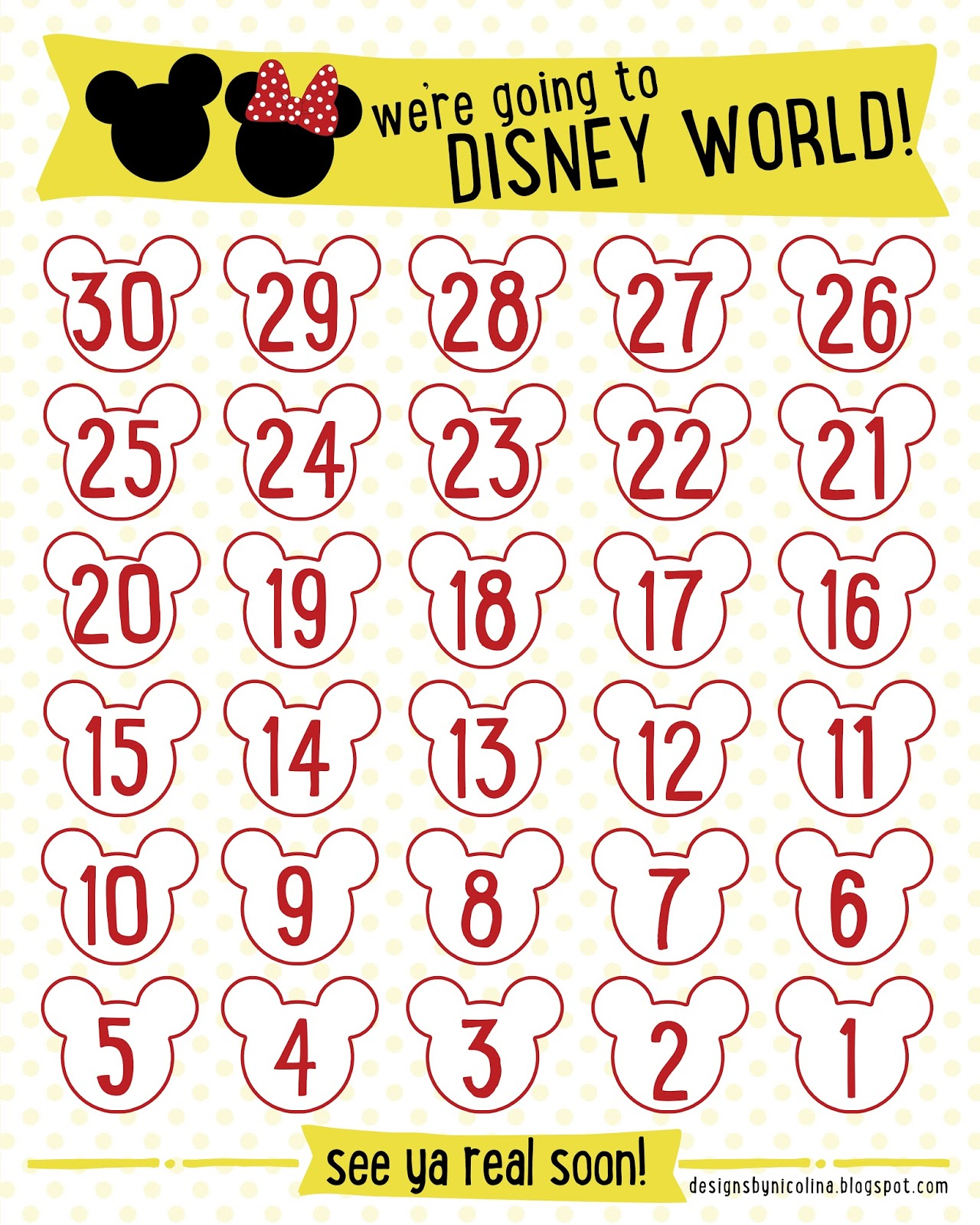 Disney Countdown Calendar Printable | New Calendar Template Site