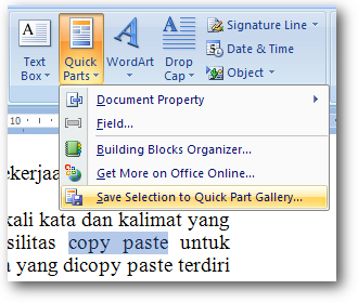 Fitur Quick Parts di Ms Word 2007