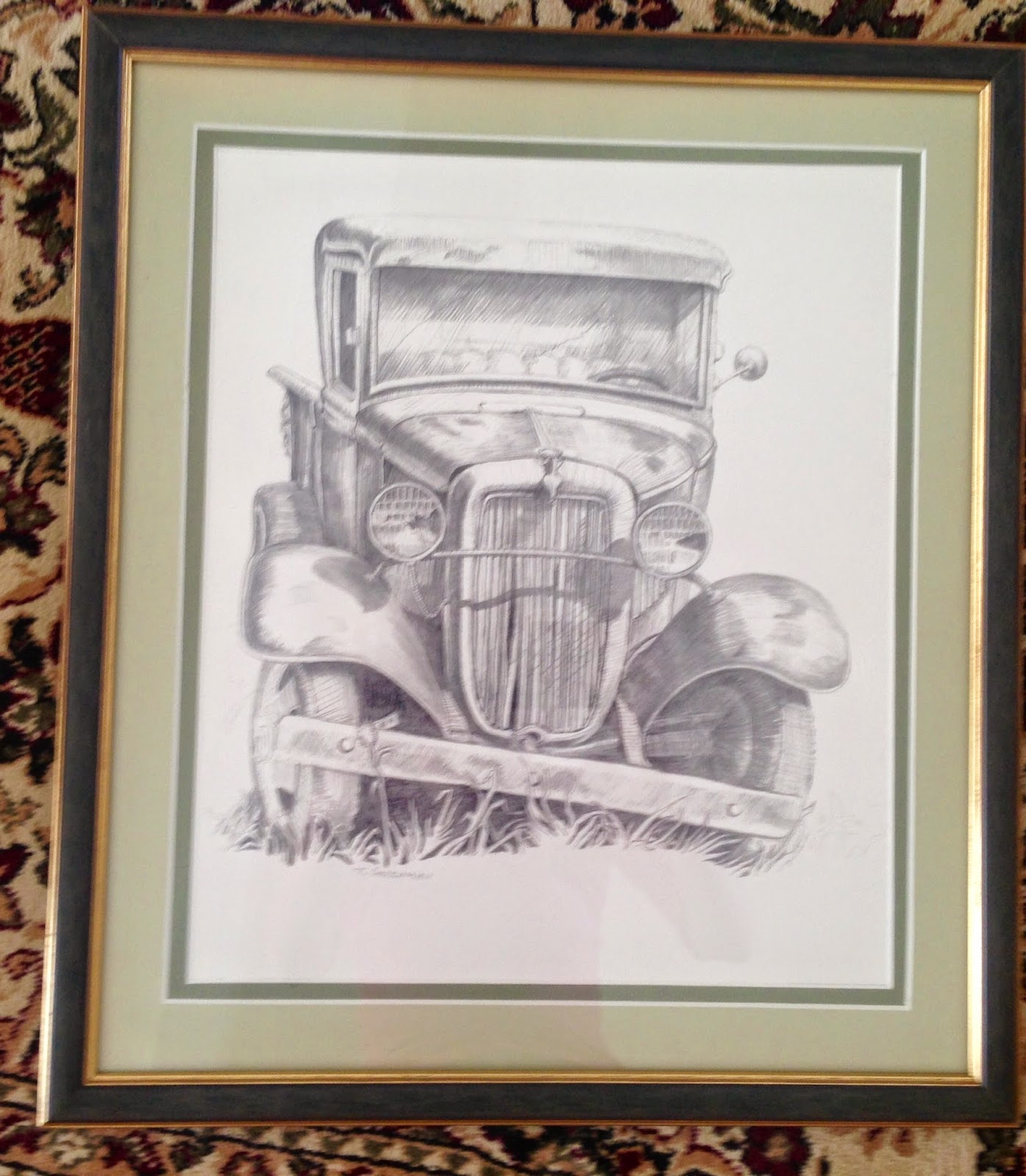 Laurel dr estate sale framed pencil drawings