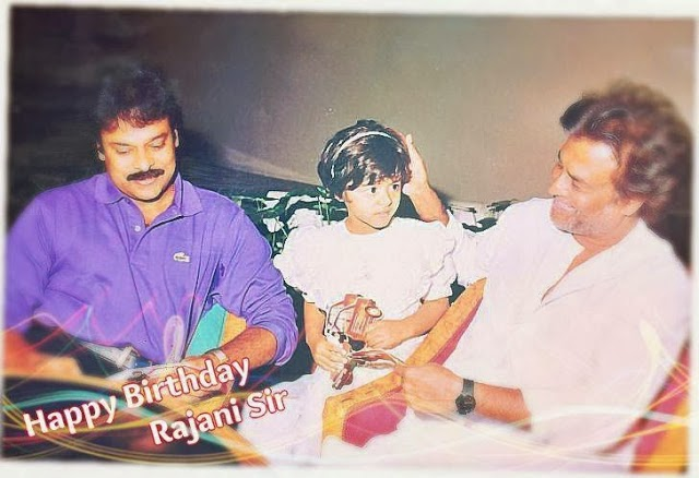 SUPREME STAR CHIRANJEEVI & HIS DAUGHTER WITH RAJINIKANTH