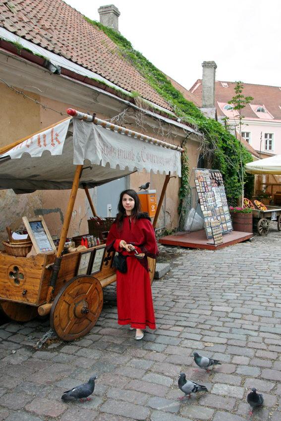Rapariga vestida com traje de época, em plena rua, junto a bancas de venda de produtos. Alguma pombas debicando na calçada