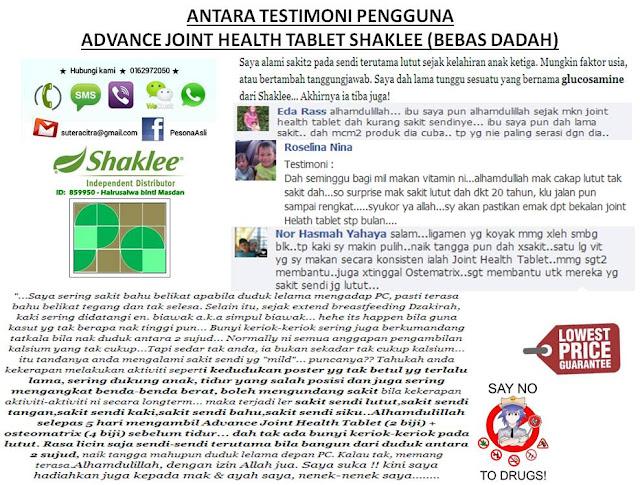 Klik untuk info menarik Advanced Joint Healt Tablet Shaklee