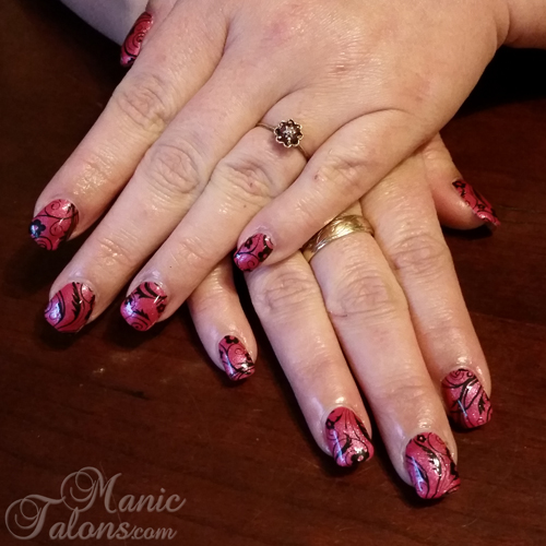 Sculpted Gel Nails with Stamping