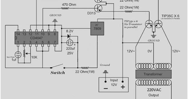ndolem  rangkaian inverter 220 vac 500 watt