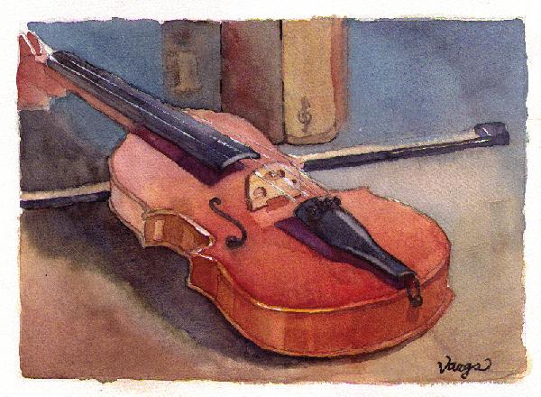 Watercolor Still Life Of A Violin