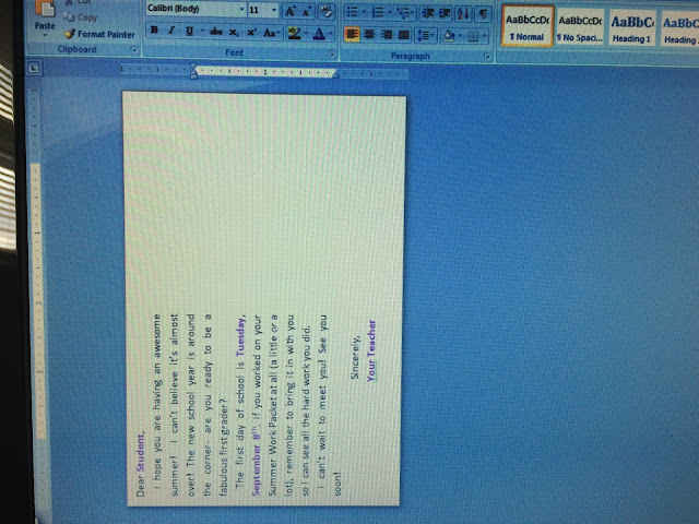 Real Life in First Grade: MS Word Template for Printing on Postcards