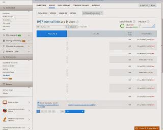 Muestra el reporte de enlaces rotos generados por la auditoria de Semrush