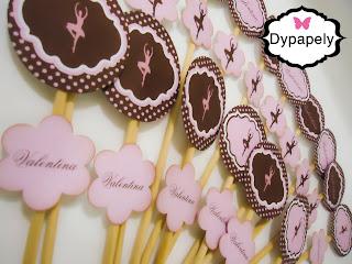 palitos decorativos personalizada bailarina poá rosa e marrom