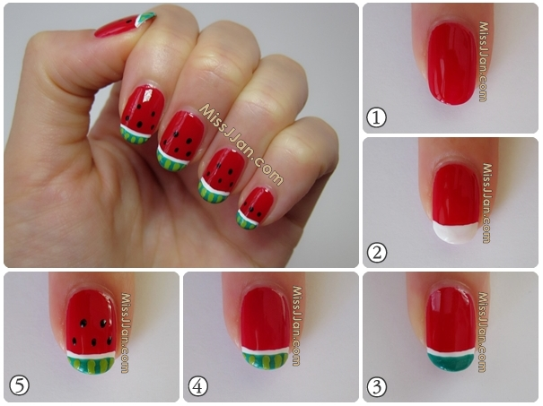 Today I Have A Summer Nail Art To Show You Yummy And Refreshing Watermelon Nails It S Not Without Watermelons Would Want Bite Your Finger