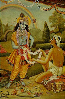 A Devotee Giving Garland to Lord Krishna