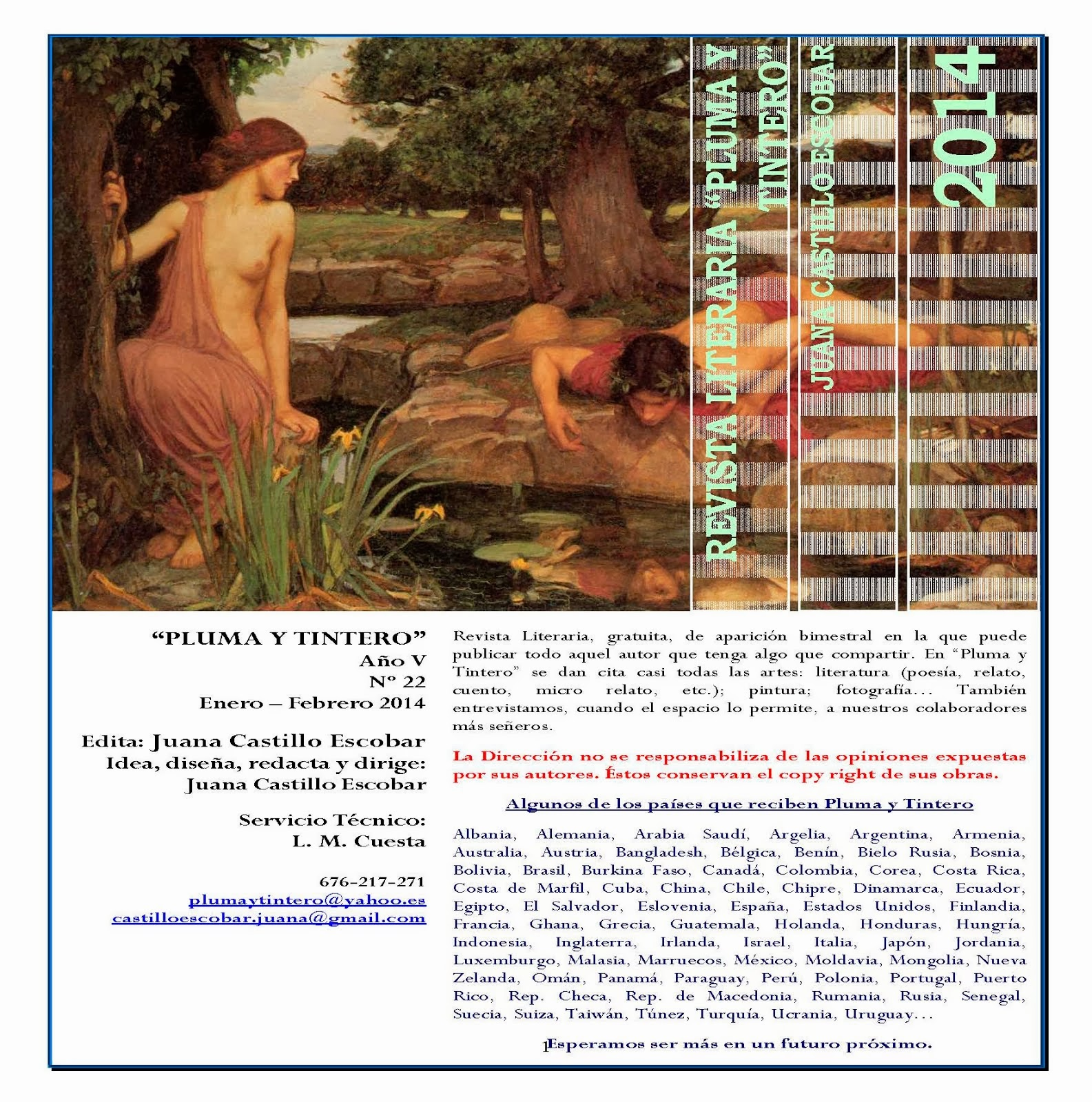 """Revista Literaria """"Pluma y Tintero"""" Año V N. 22 Enero - Febrero 2014 Clica en la imagen"""