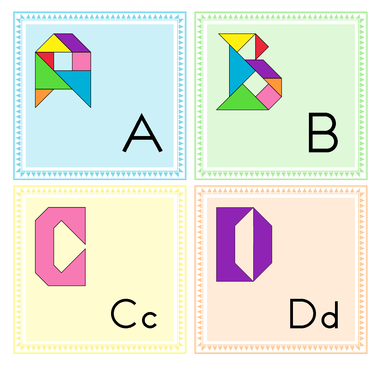 Tangram Alphabet / Word Wall Letters + Worksheets