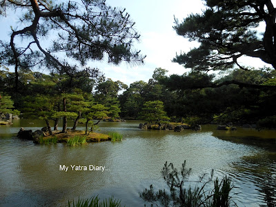 A small pond in the Kinkaku-ji or the Golden pavillion, Kyoto in Japan