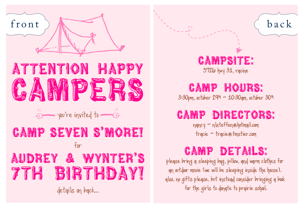 Nellie design in demand camping party invites ever since this blog post ive been getting some major action for the invite below stopboris Choice Image
