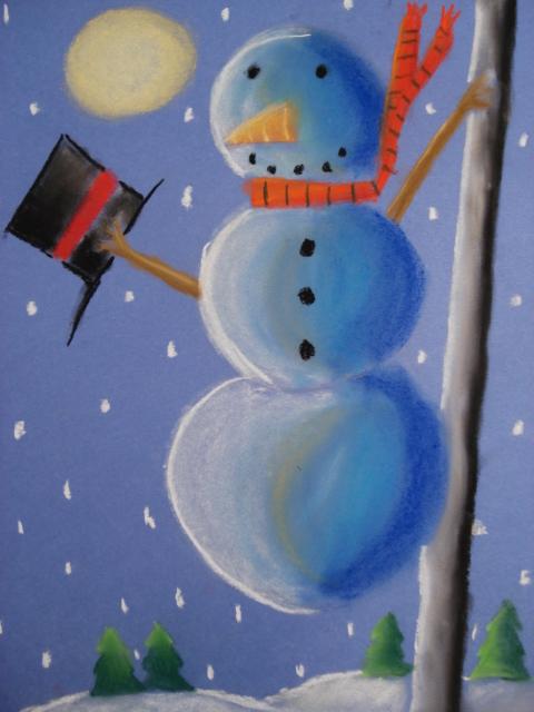 A Faithful Attempt Snowmen At Night Chalk Pastel Drawings