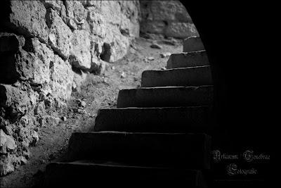 Eine Treppe in der Festungsruine Hohenurach