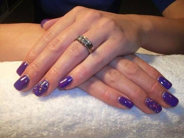 Acrylics LED polish manicure and glitz