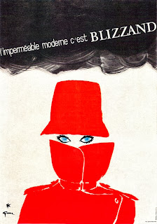 illustration by rene gruau of a raincoat ad for blizzand