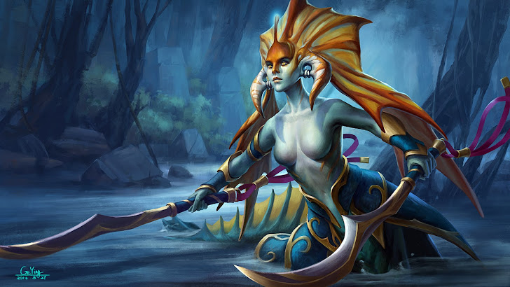 slithice naga siren art dota 2 game hero girl