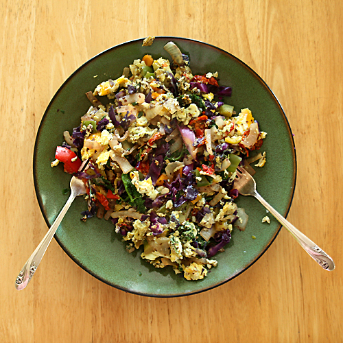 Above Is A Plate With Two Servings Jeff And I Usually Split So We Get About Eggs Each Plus Or Three Cups Of Vegetables