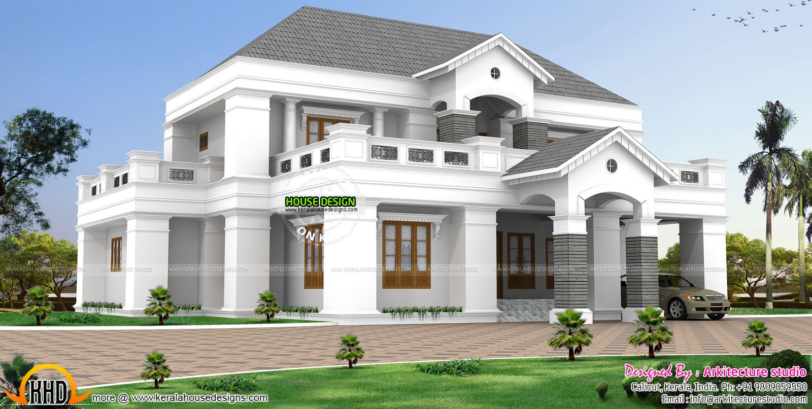 Luxurious pillar type home design kerala home design and for Colonial style home design in kerala