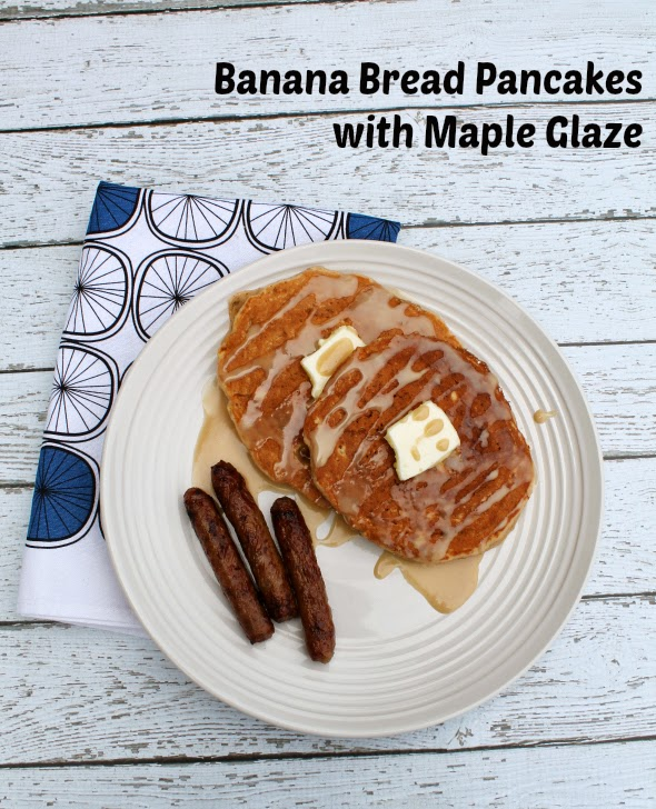 Banana Bread Pancakes with Maple Glaze