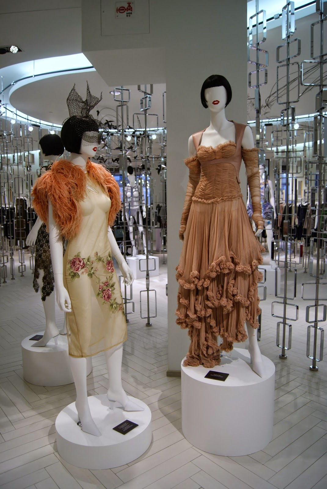 Fashion Blows Exhibit at Hudson's Bay in Toronto, Isabella, Daupne Guinness, Style, Culture, foundation, alexander mcqueen, philip treacy, suicide,the purple scarf, melanie.ps, ontario, canada, the room, dress, bolero, fall, winter, spring, summer, designer
